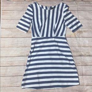 Audrey A-Line Dress Denim stripes sz S A72